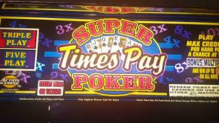 Super times pay poker hits 4 Ace's with a kicker at 3x  amazing win