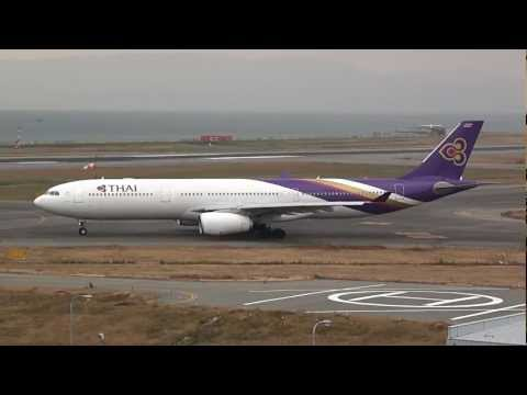 Thai Airways International Airbus A330-300 Takeoff - Kansai International Airport -
