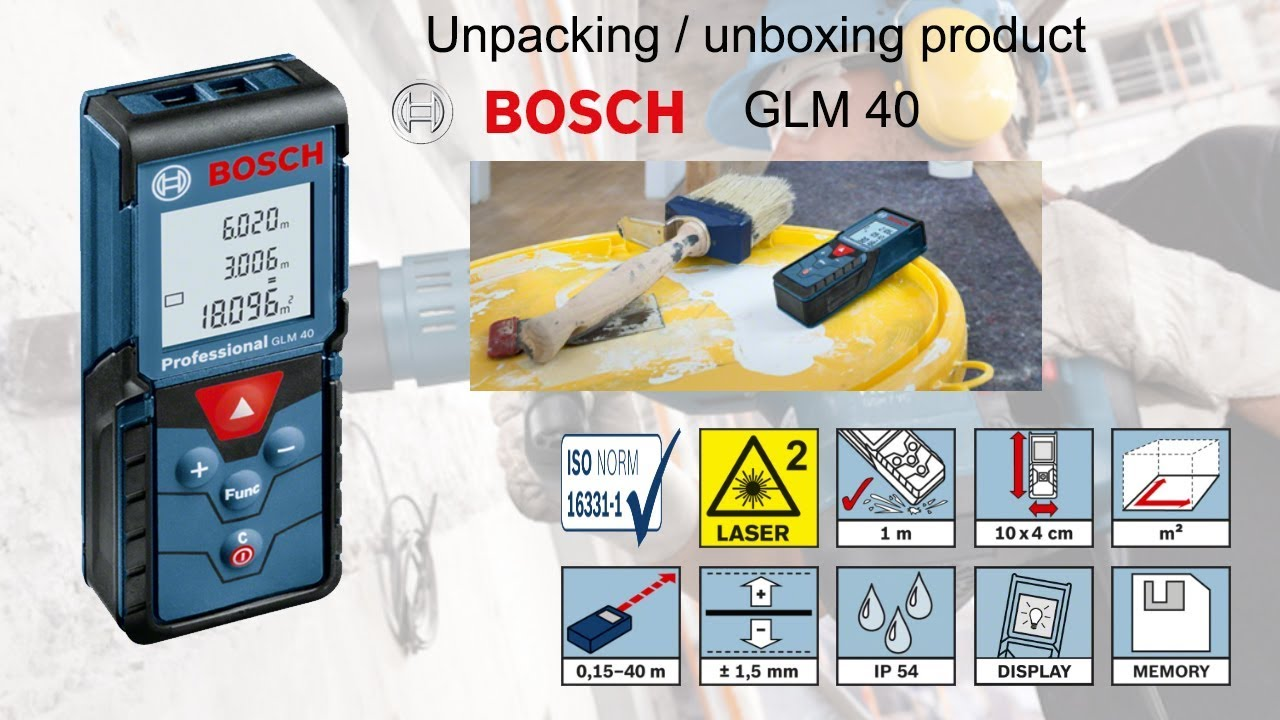 unpacking / unboxing laser measure bosch glm 40 0601072900 - youtube