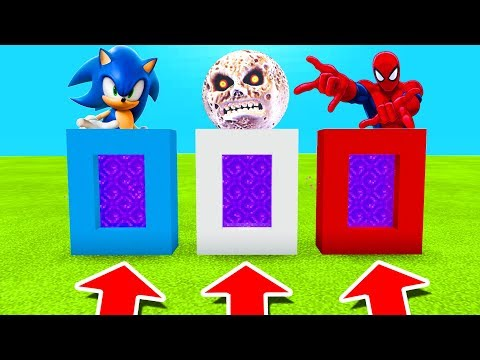 Minecraft PE : DO NOT CHOOSE THE WRONG PORTAL! (Sonic, Lunar Moon & Spiderman)