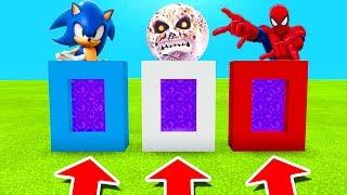 Minecraft PE : DO NOT CHOOSE THE WRONG PORTAL! (Sonic, Lunar Moon & Spiderman)