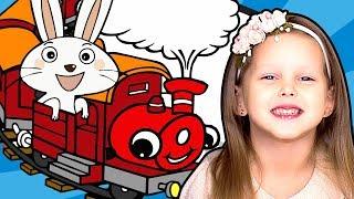 Кролик катается на ПОЕЗДЕ Минни Маус Железная Дорога Приключения Пушинки на поезде