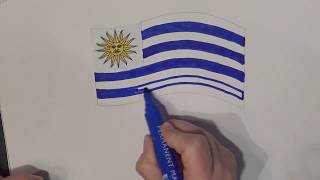 Learn geography for kids How to draw a flag Uruguay