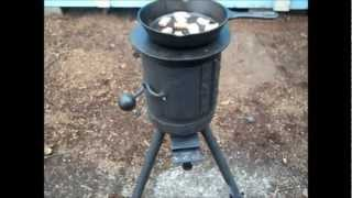 Mini Potbelly Woodstove (cooking Ham And Eggs )