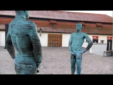 Bizzare statue of David Cerny in Prague
