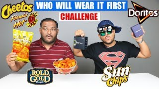 WHO WILL WEAR IT FIRST CHALLENGE | Cheetos Flamin Hot Challenge | Food Challenge
