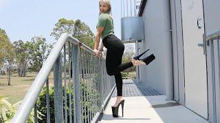 Walking Upstairs In Massive 10 Inch Pleaser Beyond008 High Heel Platform Shoes With Catie