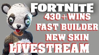 FORTNITE LIVESTREAM 430 WINS | FAST BUILDER | VBUCKS GIVEAWAY | NEW PANDA SKIN | BATTLE ROYALE