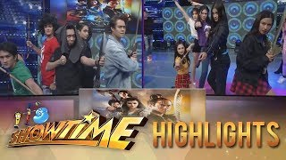 "It's Showtime Copy-Cut: Team Boys and Team Girls try to imitate the poster of ""Bagani"""