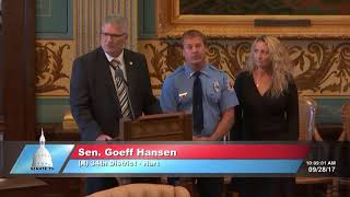 Sen. Hansen presents special tribute to volunteer firefighter