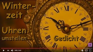 FG179 ⌚ Zeitumstellung WINTERZEIT ⌚ Gedicht übers Umstellen der Uhren ⌚ Zeit / Uhren zurückdrehen ⌚