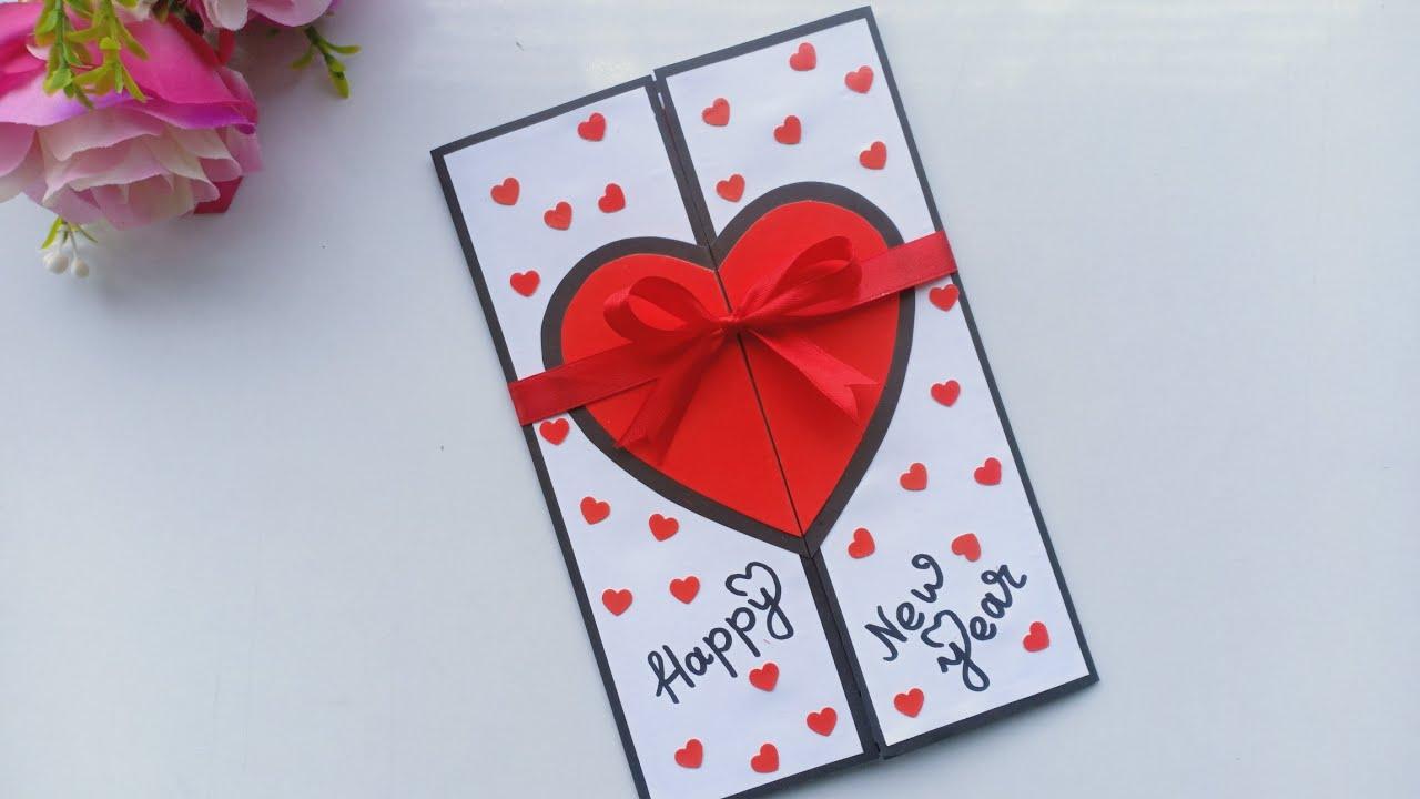 beautiful handmade happy new year 2020 card idea  diy