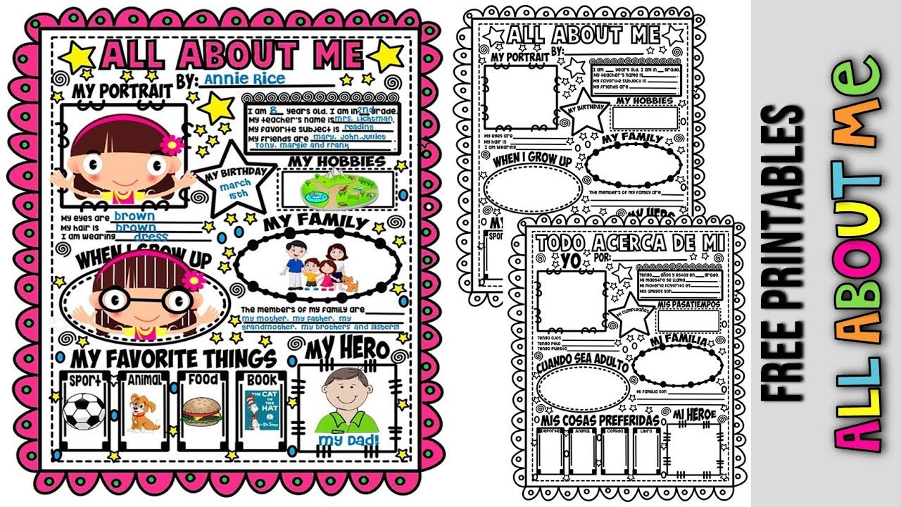 Smart image pertaining to all about me free printable worksheet