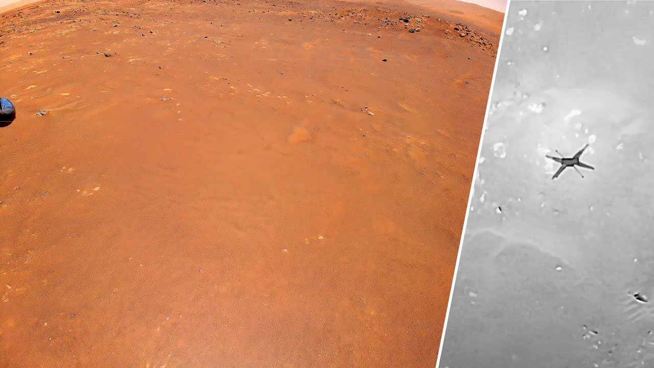 Ingenuity Mars Helicopter's onboard camera footage in 4K at Airfield B (5th flight landing site)