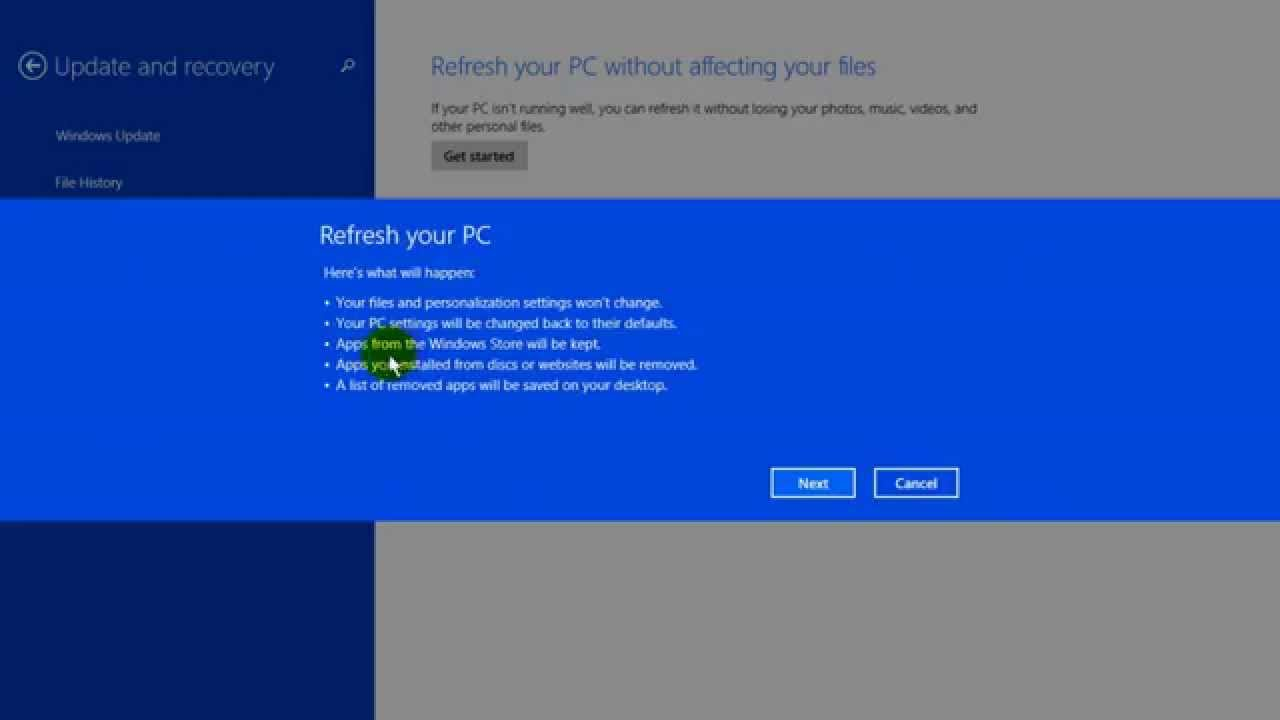 how to factory restore your pc