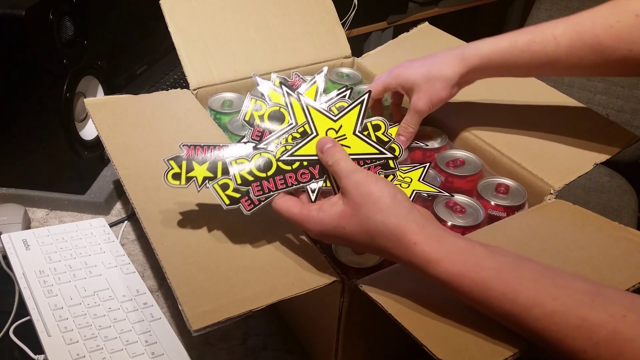 Unboxing Free Rockstar Energy Drinks Sticker