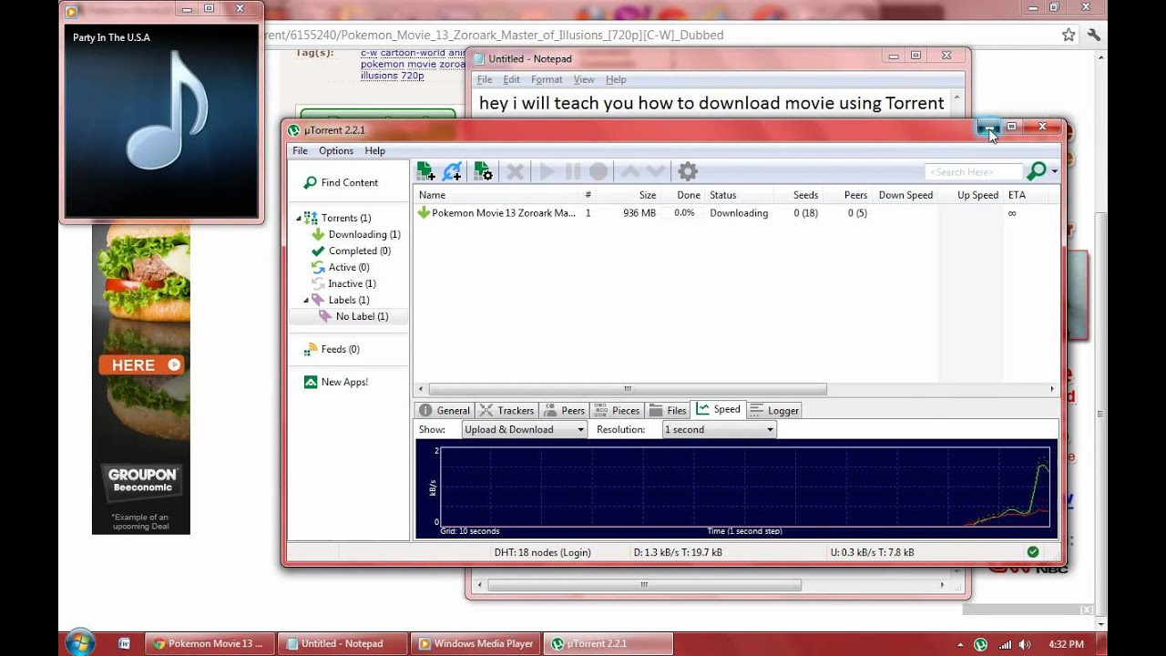 Download movie using torrent for free! Youtube.