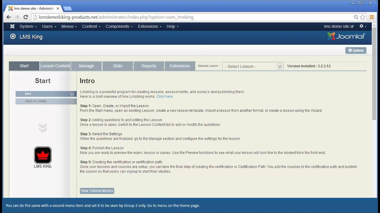 Joomla Lms King: Creating Menu Links for front Access - YouTube