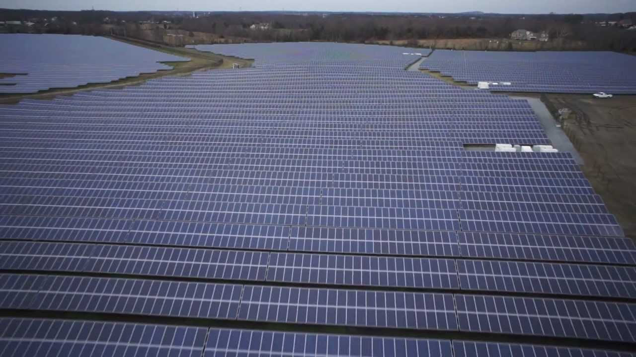 Solar Panel Array Aerial Photography And Video Via Remote