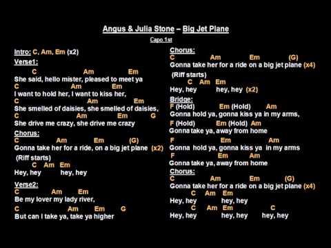 Angus & Julia Stone - Big Jet Plane (Backing Track with guitar chords and lyrics)