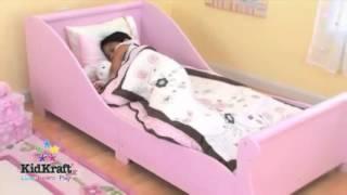 Pink Kids Childs Toddler Junior My First Sleigh Cot Bed Kidkraft Bedroom Furniture