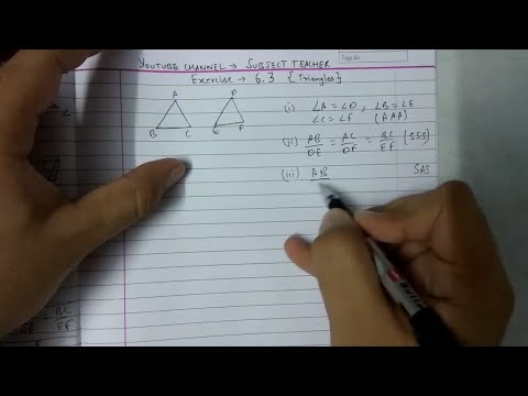 Triangles Chapter 6 Exercise 6.3 (part 1) class 10 maths NCERT || Math Tutor