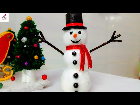 How To Make Snowman with Newspaper And Cotton | DIY Christmas Snowman | DIY CraftsLane