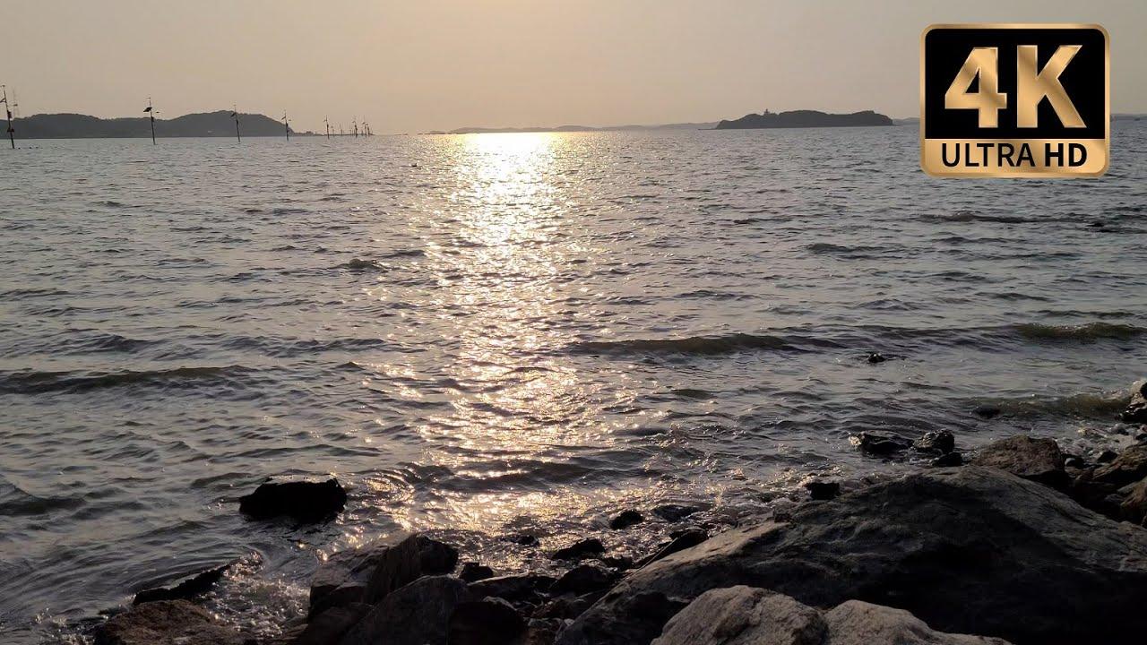[4K] 햇빛이 쏟아지는 바다의 파도소리