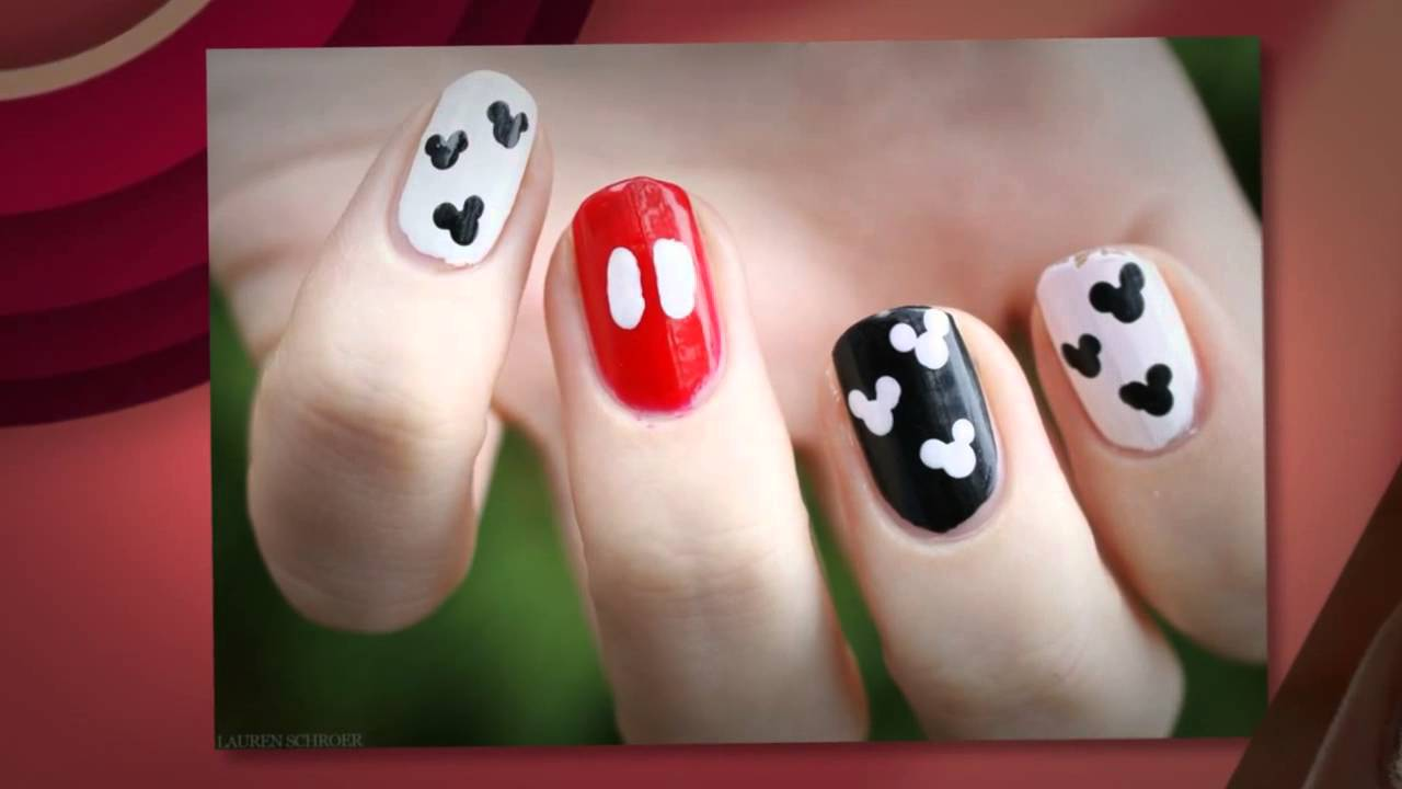 Decoraciones de Uñas con Esmalte de Mickey Mouse - YouTube