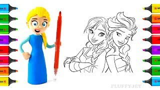 Disney Princess Elsa Mermaid Magic Play doh STOP MOTION-Learn Color Finger Family