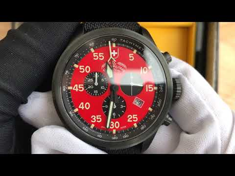 Xship.vn: SWISS MILITARY 27341 Hawk Red Dial Men's Canvas Watch