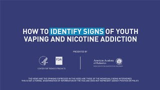 Vaping can be easily hidden. Pediatric doctors Deepa Camenga, MD, MHS, FAAP, and Susan Walley, MD, NCTTS, FAAP, discuss the warning signs of e-cigarette use and nicotine withdrawal.  For more information, please visit https://www.FDA.gov/tobacco.