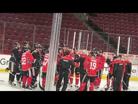 What Happens During an NHL Morning Skate? [CHICAGO BLACKHAWKS] raw footage
