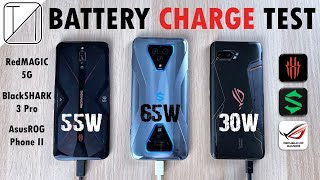 RedMagic 5G vs Black Shark 3 Pro vs Asus ROG Phone 2 Charging Speed Test