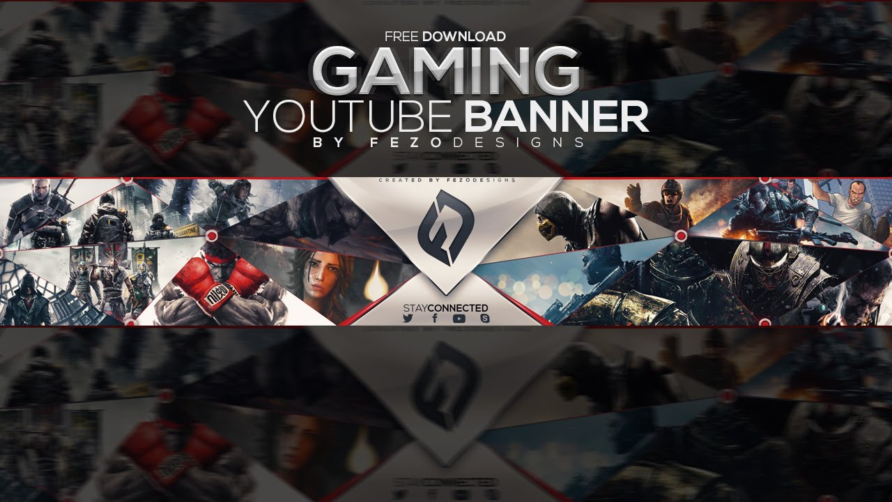 pro gaming youtube banner template fezodesigns free download