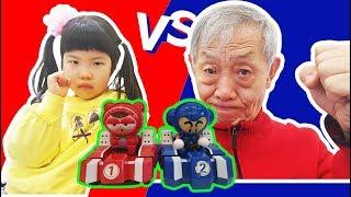 할아버지와 유니의 카트라이더 대결 놀이 Grandfather and Yuni's cart rider play 과연 누가 이길까요? ㅋ현실판 카트라이더 - 로미유 Romiyu