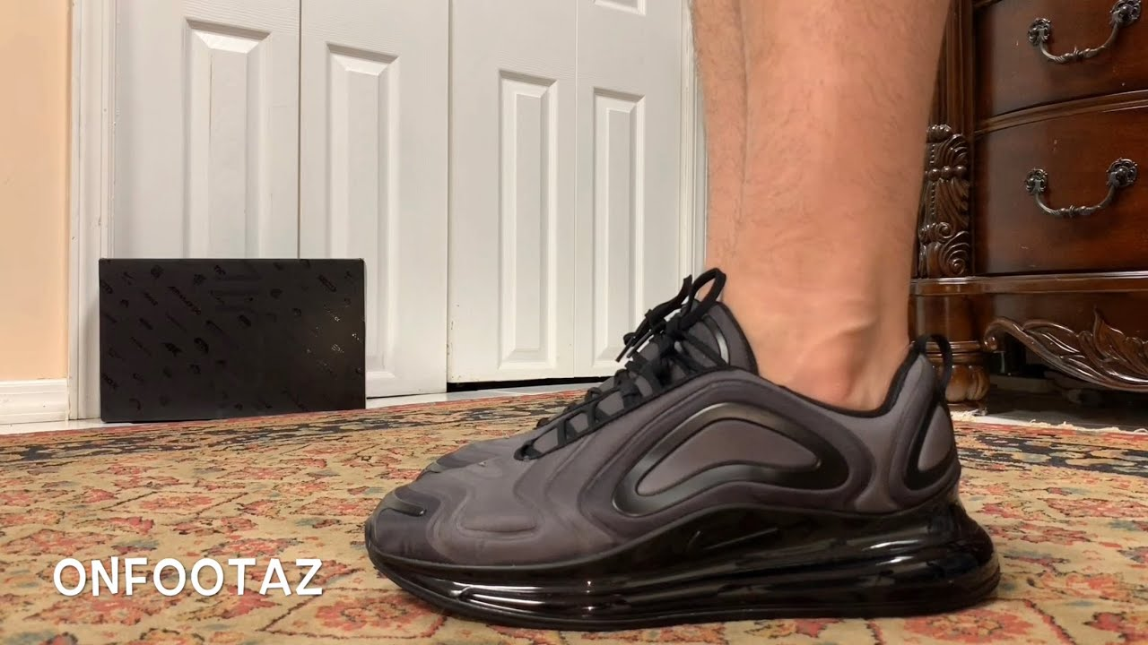 Nike Air Max 720 Total Eclipse Triple Black On Foot
