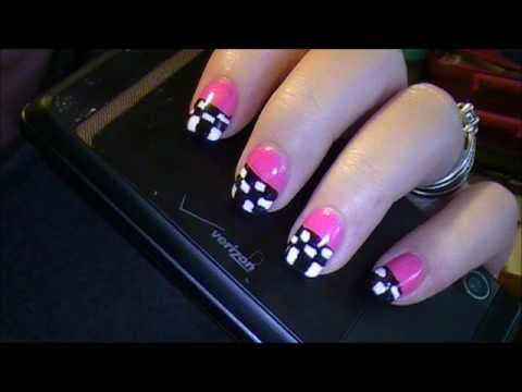 Checkered Flag Nails - Checkered Flag Nails - YouTube
