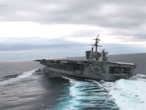 Watch a 100,000 ton US aircraft carrier make hairpin turns and do donuts at surprising speed