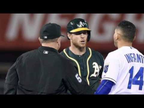 Managers Bob Melvin, Ned Yost on hard slide in Friday's Royals-A's game