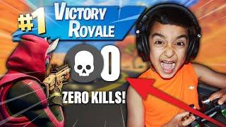 ¡Desafié a mi hermano pequeño de 5 años a conseguir una victoria real en fortnite con 0 KILLS!