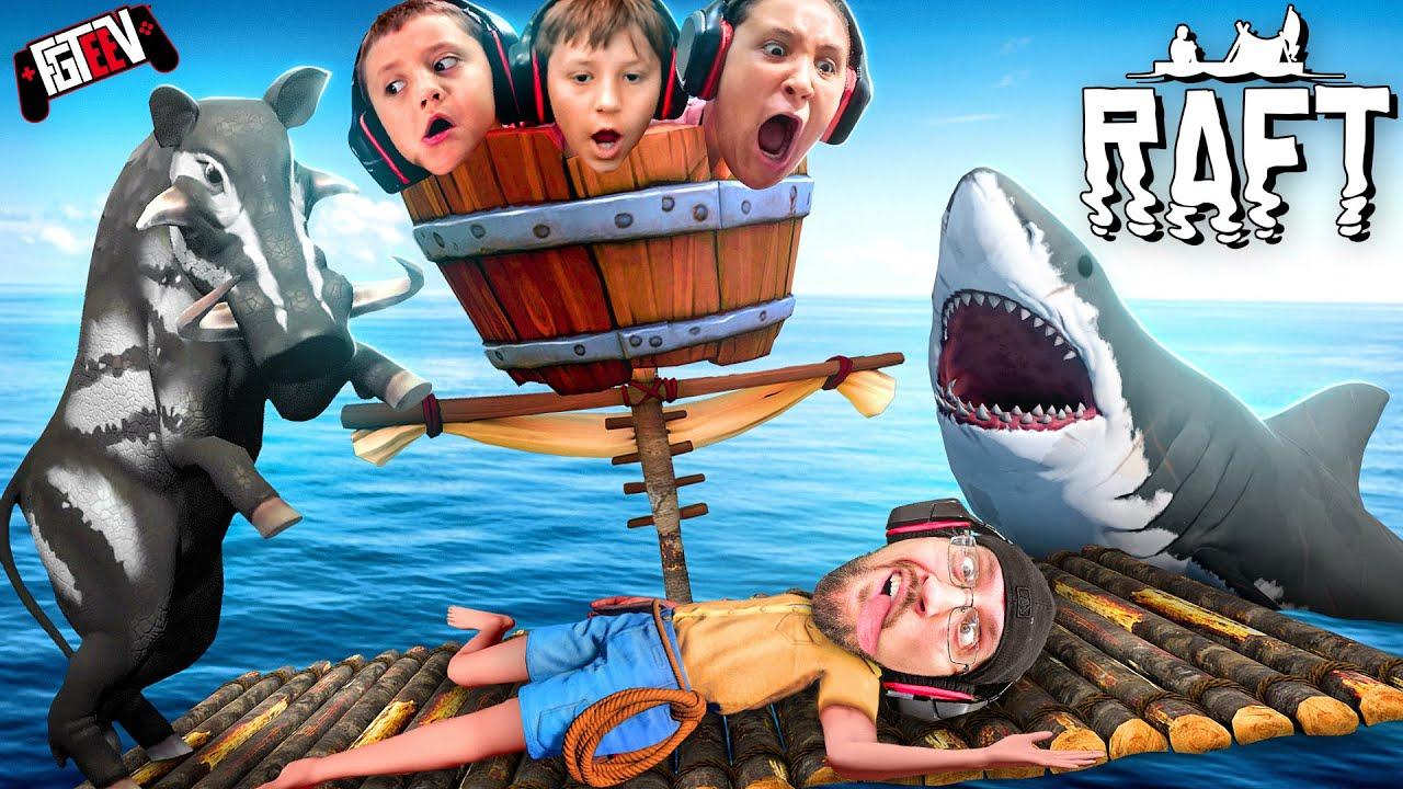 RAFT 2021!  Low iQ Raftmates vs. SHARK (FGTeeV Boys Gameplay)