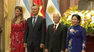 El presidente Mauricio Macri en la comida de honor ofrecida por su par de Vietnam, Phu Trong.