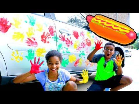 HOT DOG HANDPRINTS On CAR! - Shiloh and Shasha - Onyx Kids