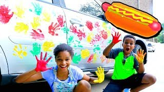 HOT DOG HANDPRINTS On CAR! - Shiloh and Shasha - Onyx Kids