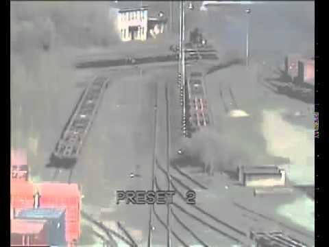 Train crash caught by CCTV camera