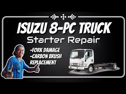 How to repair isuzu truck starter with carbon brush issue?