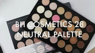 bh cosmetics 28 neutral eyeshadow palette   swatches review