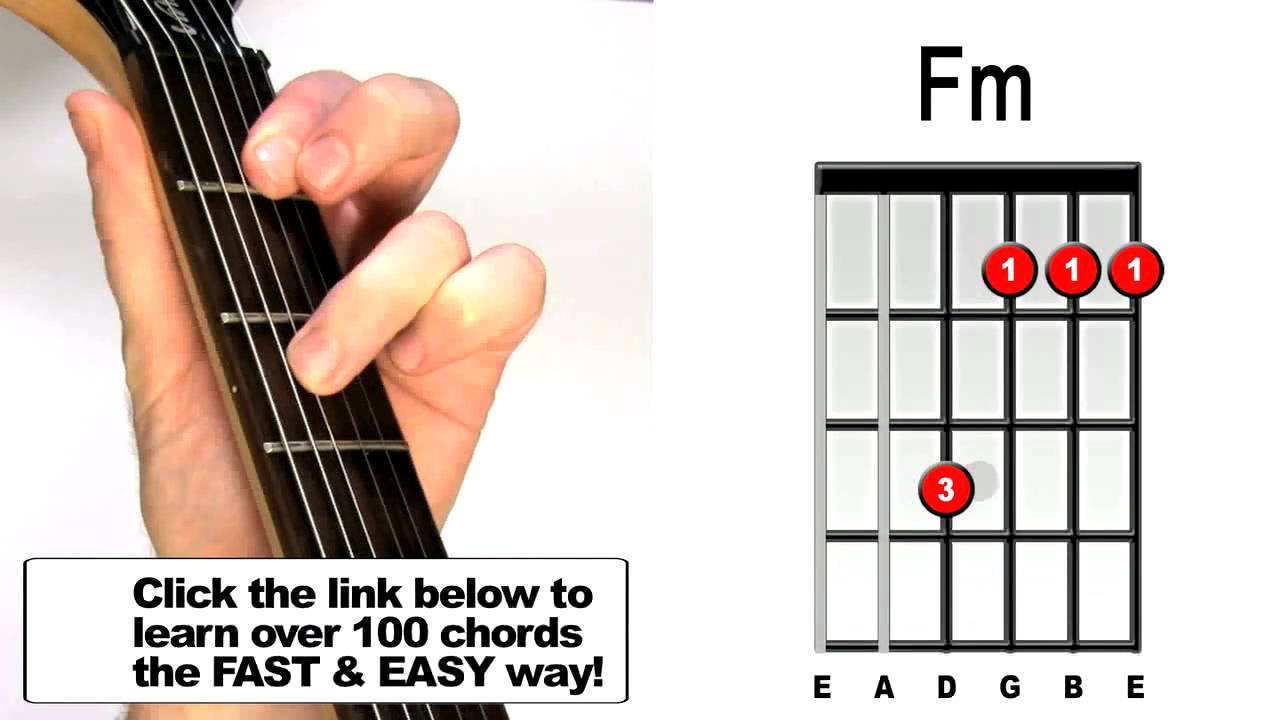 How To Play Fm Guitar Chord Beginners Acoustic Electric Lesson