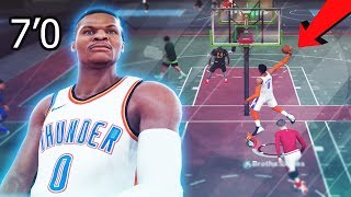 giant 7ft russell westbrook is overpowered nba 2k19 best athletic finisher build contact dunks